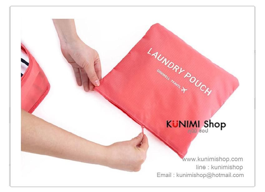 กระเป๋าผ้า ตาข่าย (Size M) จัดระเบียบกระเป๋าเดินทางท่องเที่ยว จัดเก็บเสื้อผ้า ผ้าเช็ดตัว ผ้าขนหนู หรือของใช้ต่าง ทำจากผ้าร่มกันน้ำ ดีไซน์สวย เก๋ สไตล์เกาหลี หยิบใช้งานสะดวก มีกระเป๋าใบเล็กใส่แยกของใช้อีก 1 ใบ ขนาด Size M : ขยาย 28x30x13 ซม.