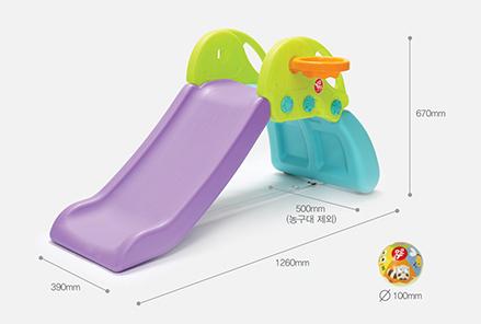 สไลด์เดอร์จิ๋วเล็ก ปีนป่าย Climbing Slide Yaya Lollipop มีแป้นบาส พร้อมลูกบาส สีฟ้า สีพาสเทล