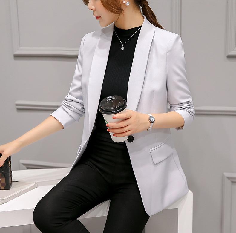 เสื้อสูทมาใหม่ตัวยาวมีซับใน กระเป๋าจริง 300RX สีเทานวล