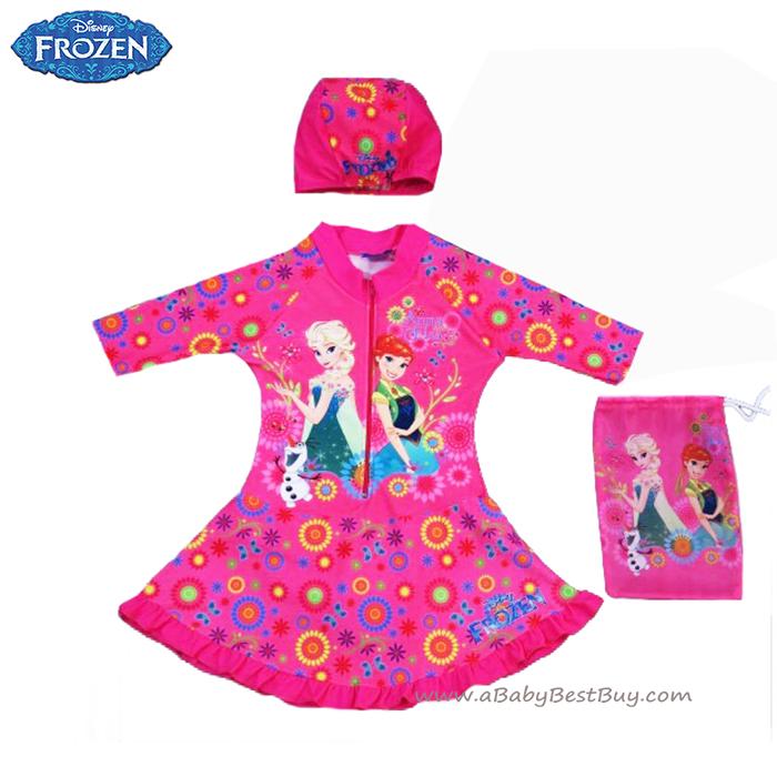 ฮ (สำหรับเด็กอายุ 6เดือน-14 ปี) ชุดว่ายน้ำเด็กผู้หญิง Disney Frozen Fever ชุดกระโปรงซิบหน้า สีชมพู เสื้อแขนยาว สกรีนลาย เจ้าหญิง อันนา เอลซ่า มาพร้อมหมวกว่ายน้ำและถุงผ้า สุดน่ารัก ใส่สบาย ดิสนีย์แท้ ลิขสิทธิ์แท้