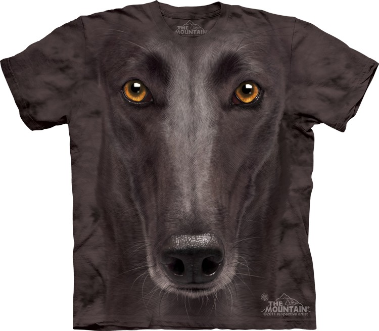 Pre.เสื้อยืดพิมพ์ลาย3D The Mountain T-shirt : Black Greyhound Face