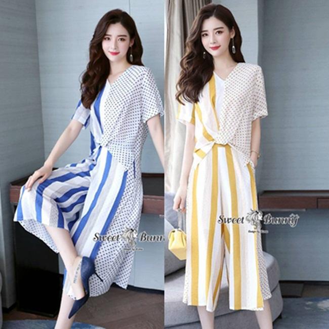 ชุดเซทแฟชั่น ชุดเซ็ทเสื้อ+กางเกงงานเกาหลี ผ้าชีฟองทั้งชุด ใช้ผ้าเนื้อดี