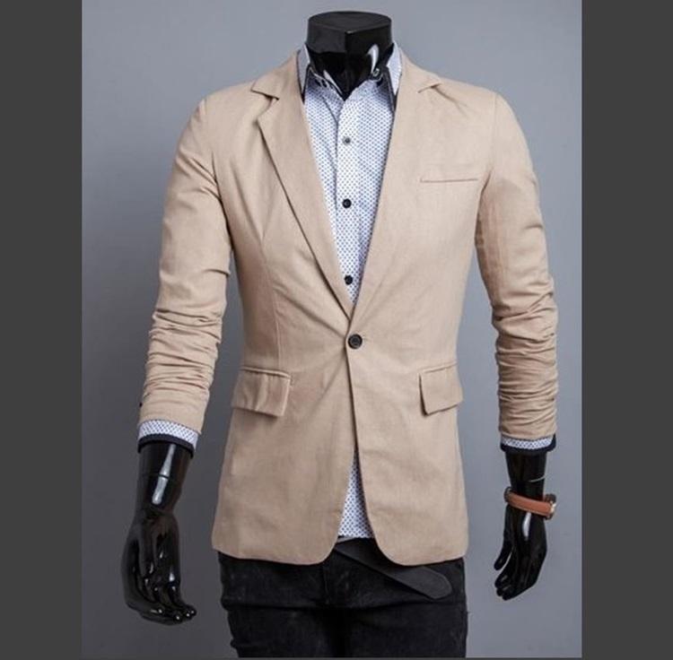 Pre-Order เสื้อสูท สูทลำลอง สูทบาง สูทเบลเซอร์ลำลอง แขนยาว ผ้าฝ้ายผสม สีเบจ