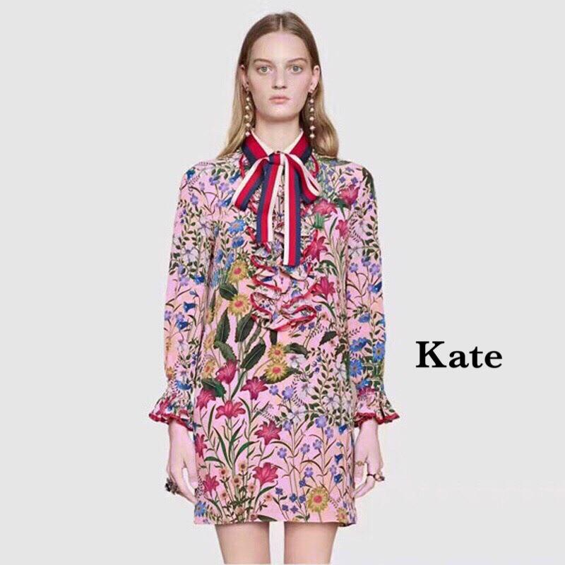 เดรสแฟชั่น Dress ลายดอกสีชมพู คอผูกโบว์ลาย