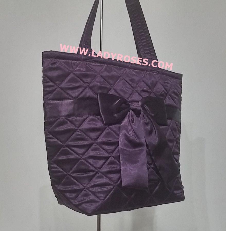 กระเป๋าสะพาย นารายา ผ้าซาตินมัน สีม่วง ผูกโบว์ (กระเป๋านารายา กระเป๋าผ้า NaRaYa กระเป๋าแฟชั่น)