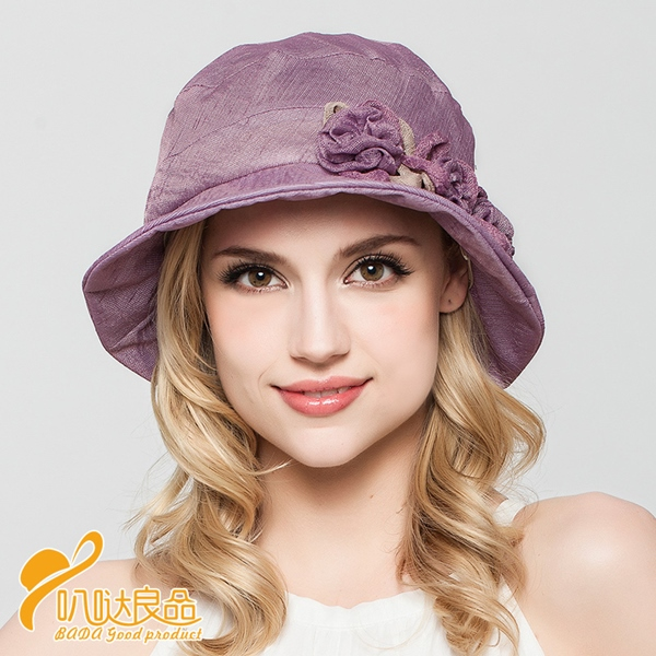 Pre-order หมวกผ้าลินินติดโบว์ดอกไม้แฟชั่นฤดูร้อน กันแดด กันแสงยูวี สวยหวาน สีม่วง