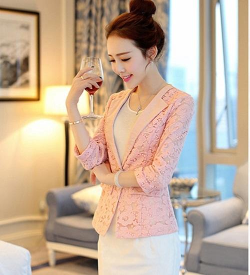 (Pre-order) เสื้อสูทแฟชั่น เสื้อสูทผู้หญิง ผ้าลูกไม้ทอทั้งตัว แขนสามส่วน แฟชั่นสไตล์เกาหลี ปี 2015 สีชมพู
