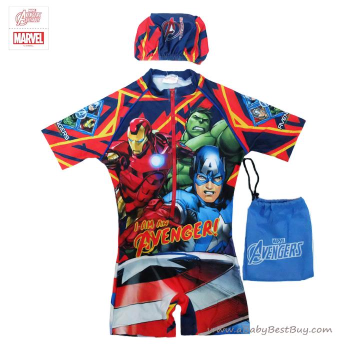 ฮ (สำหรับเด็กอายุ 6เดือน-14 ปี) ชุดว่ายน้ำเด็กผู้ชาย Super Hero The Avengers ชุดบอดี้สูทเสื้อแขนสั้นกางเกงขาสั้นซิบหน้า สกรีนตัว The Avengers มาพร้อมหมวกว่ายน้ำและถุงผ้า สุดเท่ห์ ใส่สบาย ลิขสิทธิ์แท้