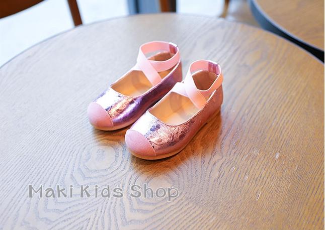 รองเท้าแฟชั่นเด็ก รองเท้าเด็กสายไขว้ สไตล์รองเท้าบัลเล่ต์ สีชมพู