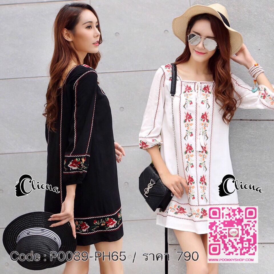 พร้อมส่ง Cliona made Korean Spring Summer Embroidered Dress Shirt - MiniDress ในลุคสไตร์โบฮีเมียน มา 2 สี ขาว,ดำ งานปักคอสติส นะจ๊ะแขนสั้น รีบมีไว้ครอบครองใส่รับลมร้อนเลยคะ ก่อนของจะหมดนะคะ สาวๆสาวอวบใส่ได้ สาวตัวเล็กใส่ดีน่ารักใสใส งานเกรด Premium Qualit