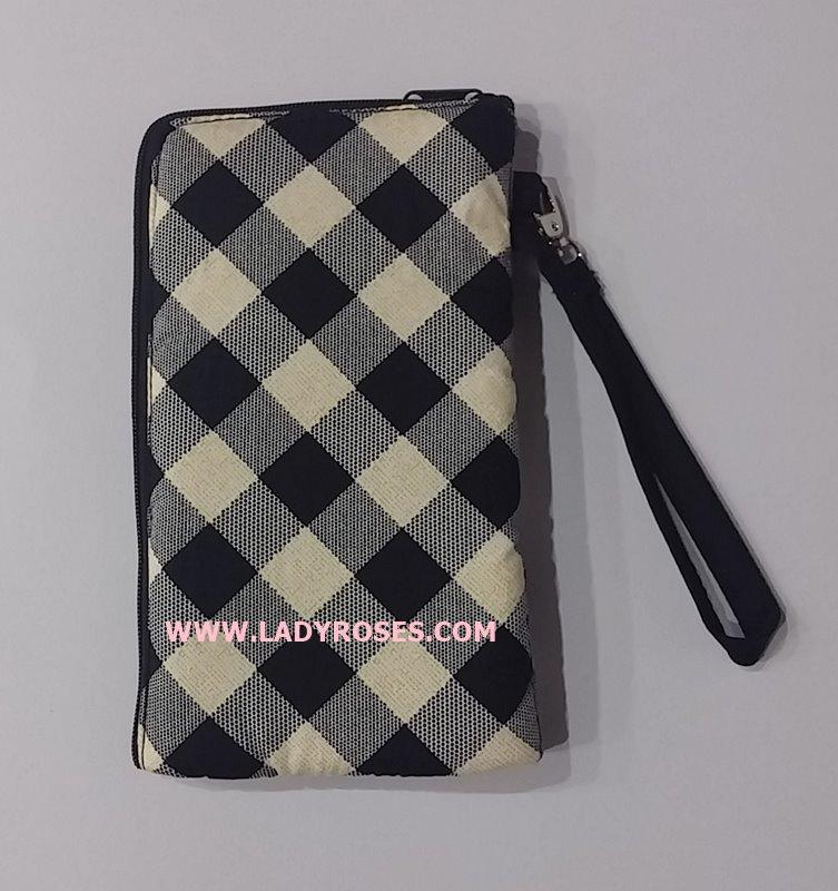 กระเป๋า ใส่โทรศัพท์ นารายา ผ้าคอตตอน ลายสก็อต สีดำ-ขาว ( กระเป๋านารายา กระเป๋าผ้า NaRaYa )