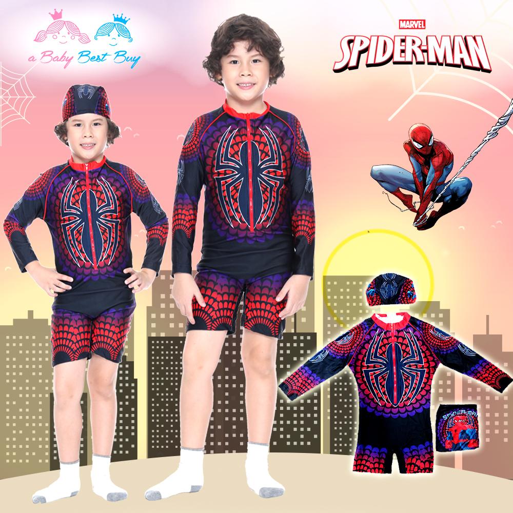 ( For Kids ) Swimsuit for Boy ชุดว่ายน้ำ เด็กผู้ชาย Spiderman บอดี้สูทแขนยาว กางเกงขาสั้น มาพร้อมหมวกว่ายน้ำและถุงผ้า สุดเท่ห์ ใส่สบาย ลิขสิทธิ์แท้