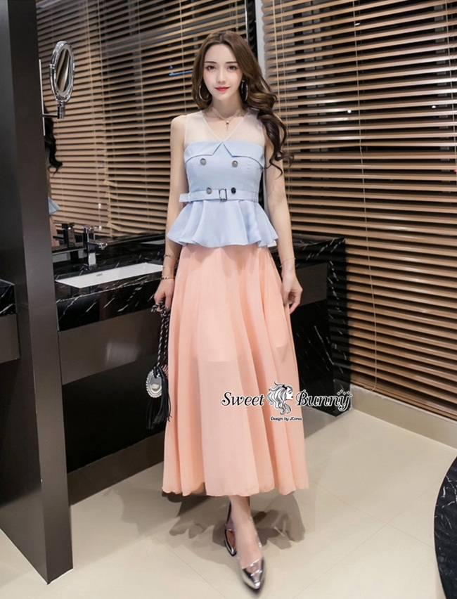 ชุดเซทแฟชั่น ชุดเซ็ทเสื้อ+กระโปรงยาวงานเกาหลี เสื้อผ้าสีฟ้าเนื้อดีผ้าหนามีน้ำหนัก