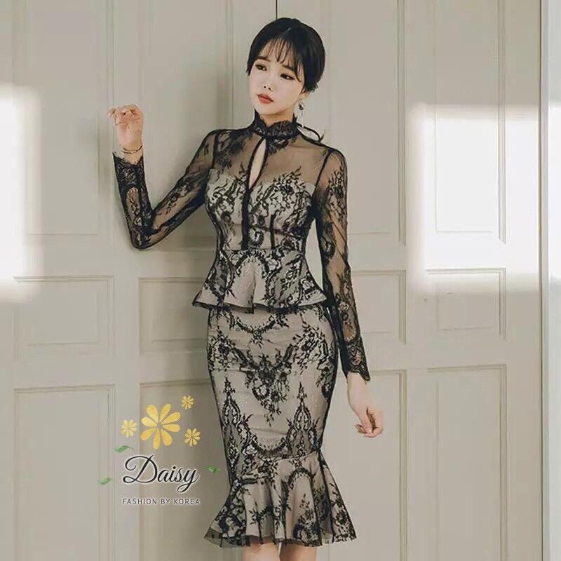 เดรสแฟชั่น เดรสผ้ายืดเกาหลีแต่งลูกไม้ แบบสวยหรูค่ะ