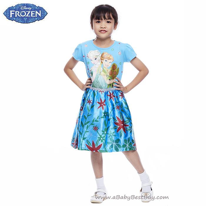 ( 4-6-8-10 ปี ) ชุดเดรส เจ้าหญิงโฟรเซ่น กระโปรงเดรส สั้นสีฟ้า แขนสั้น ดิสนีย์แท้ ลิขสิทธิ์แท้ (สำหรับเด็ก4-6-8-10 ปี)