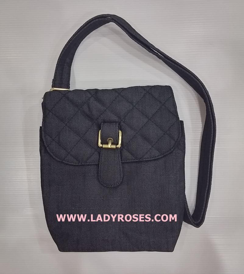 กระเป๋าสะพาย นารายา ผ้าเดนิม สียีนส์ดำ (กระเป๋านารายา กระเป๋าผ้า NaRaYa กระเป๋าแฟชั่น)