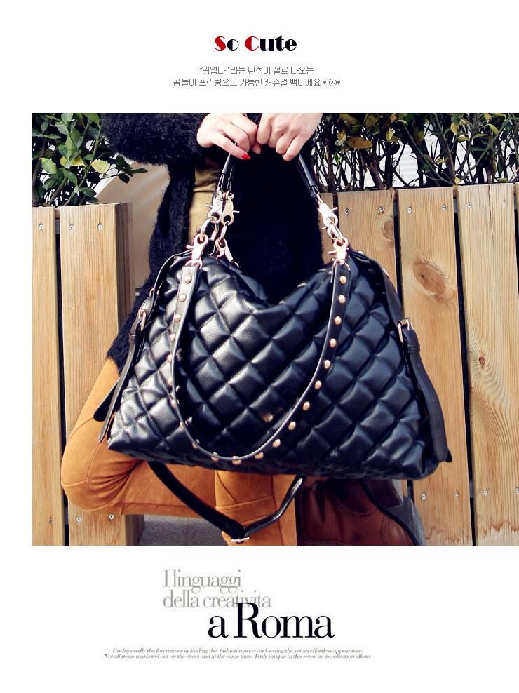 กระเป๋าแฟชั่นเกาหลี กระเป๋าแฟชั่นปักหมุด MAOMAOBAG ปั้มลายตารางสี่เหลี่ยมใหญ่สีดำ