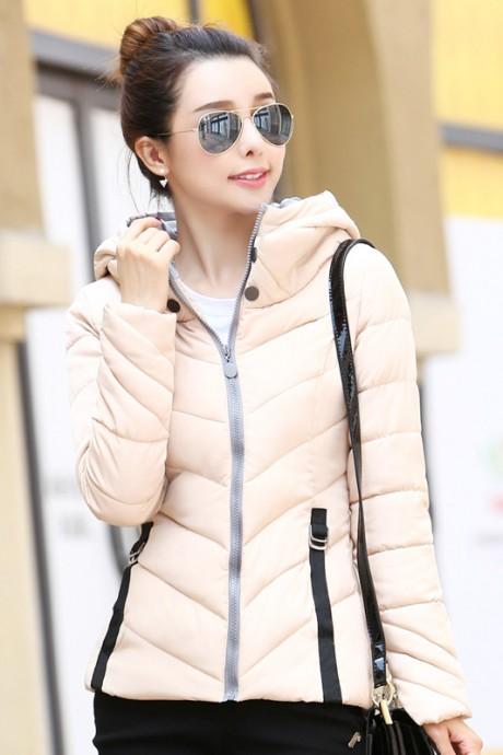 Pre-Order เสื้อโค้ทผู้หญิงแฟชั่น สีครีม มีฮู๊ด แขนจั๊ม แฟชั่นเกาหลี