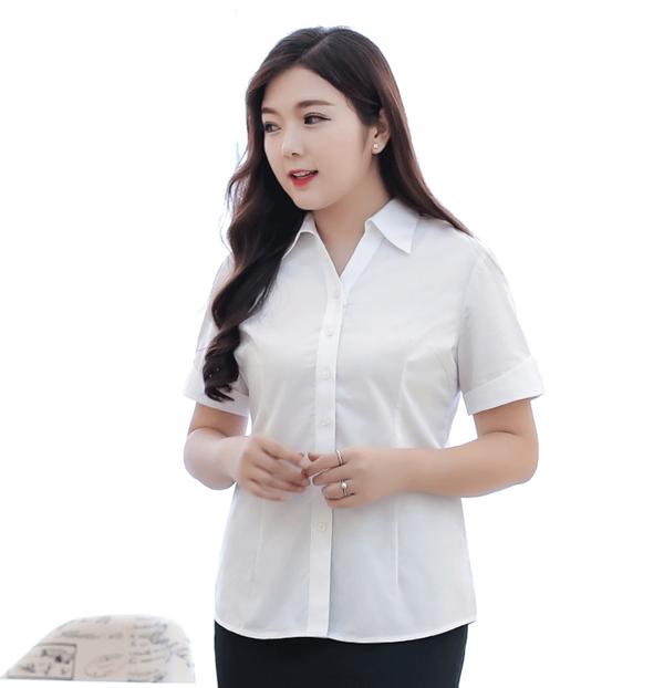 (Pre-order) เสื้อเชิ้ตทำงาน เสื้อเชิ้ตผู้หญิงแขนสั้น สีขาว ไซส์ใหญ่