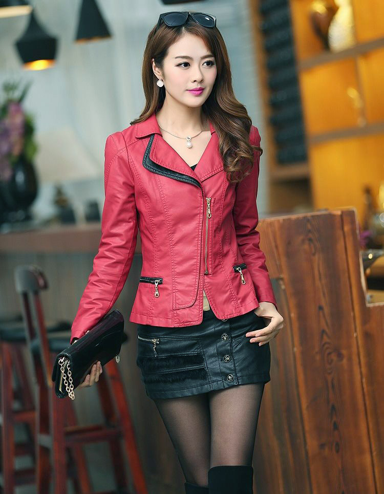 เสื้อแจ็คเก็ตหนัง เสื้อแจ็คเก็ตผู้หญิง เข้ารูปพอดีตัว คอจีน มีปก สีแดง แต่งซิปเก๋ ขลิบดำ แฟชั่นเกาหลี