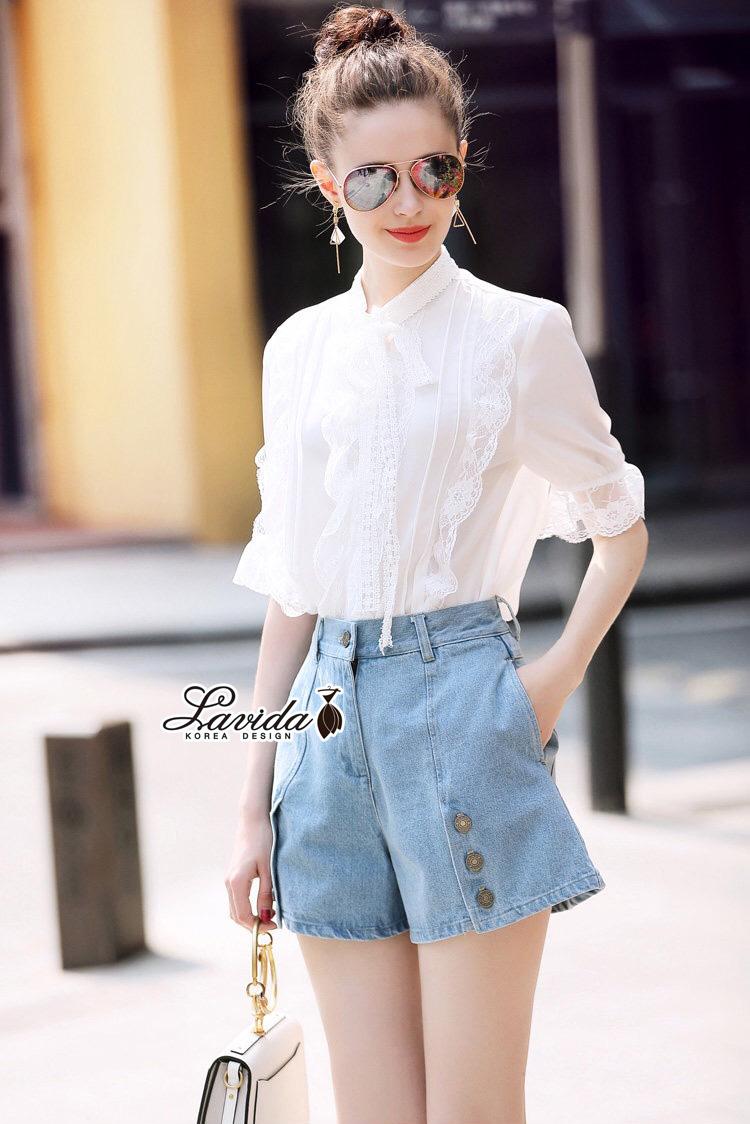 ชุดเซทแฟชั่น งานเซตเสื้อ+กางเกง ดีไซน์เสื้อสีขาวทรงแขนศอก
