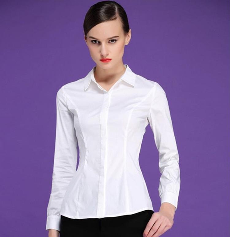 (Pre-Order) เสื้อผ้าแฟชั่นเกาหลีปี 2014 เสื้อเชิ้ตทำงาน เสื้อผ้าทำงาน แขนยาว กระดุมหน้า ผ้าฝ้ายผสม สีขาว
