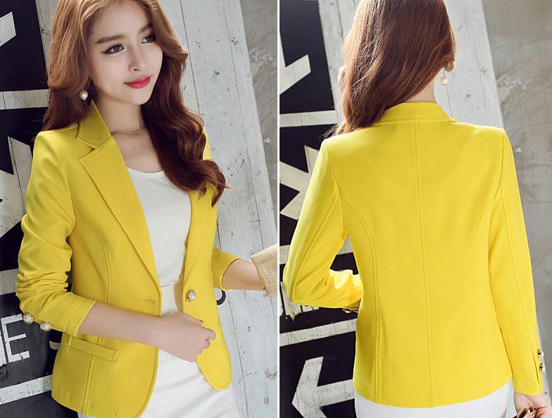 เสื้อสูทแฟชั่นผู้หญิงใส่ทำงาน สีเหลือง สไตล์เรียบหรู 5 size S/M/L/XL/XXL