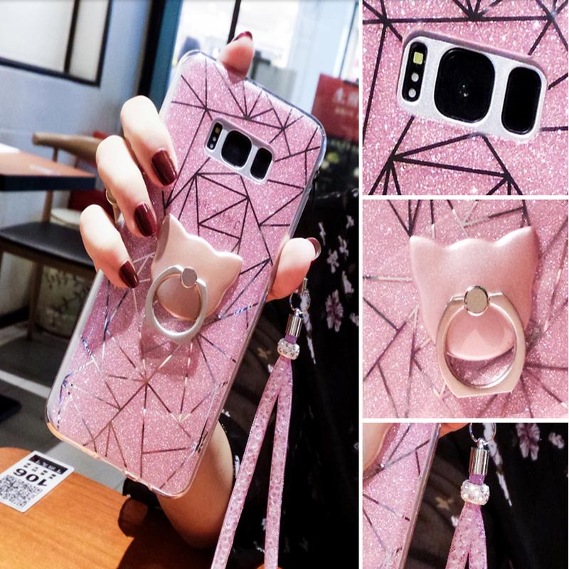 เคสมือถือ Samsung S8plus -เคสซิลิโคนกากเพชร+แหวนนิ้ว [Pre-Order]