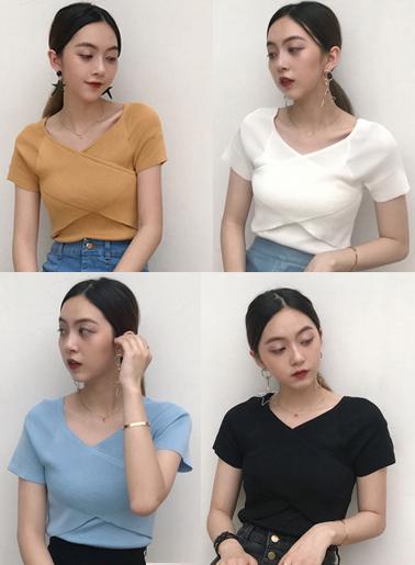เสื้อไหมพรมผสม แต่งผ้าไขว้ด้านหน้าสวยหวานสไตล์เกาหลี มี 4 สี