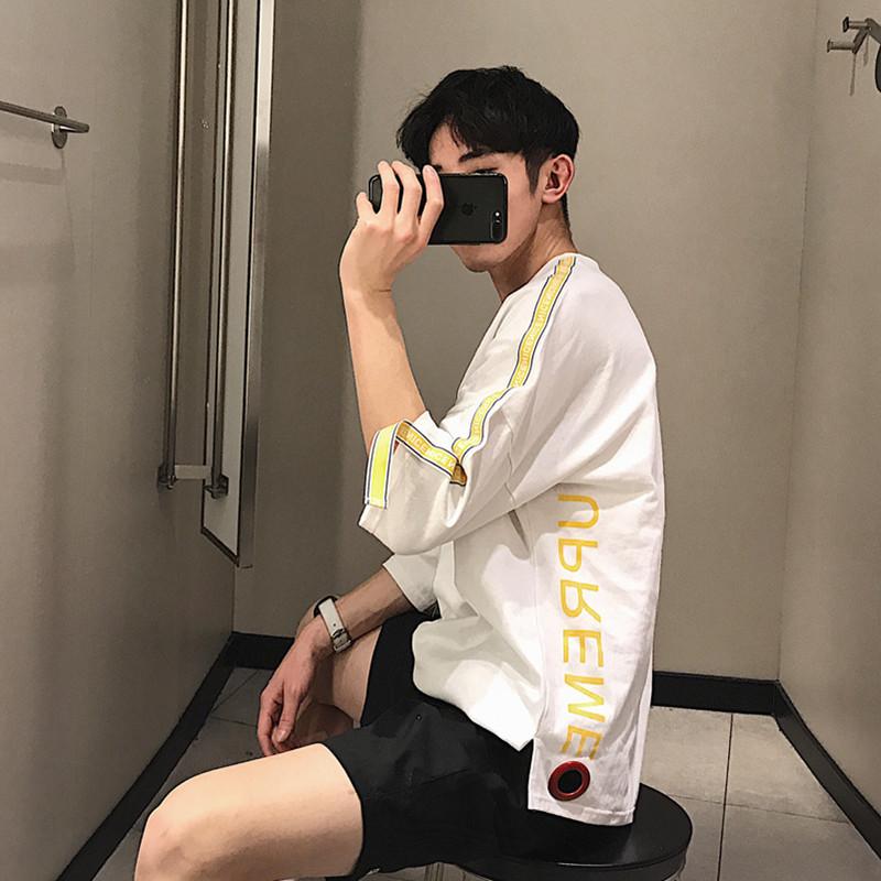 Pre Order เสื้อยืดแขนห้าส่วนคอกลม สไตล์ฮาราจูกุ แต่งแถบที่แขน มี3สี