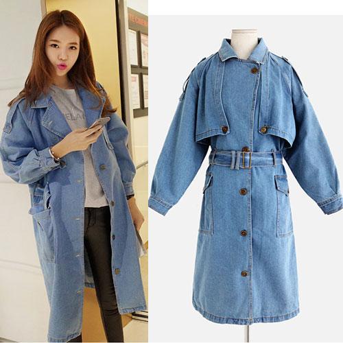 ++สินค้าพร้อมส่งค่ะ++ เสื้อ Coat แฟชั่นเกาหลี ตัวยาว ตอปก แขนยาว ผ้ายีนส์เนื้อดีมากค่ะ ดีไซด์เท่ห์ เข็มขัด 1 เส้น มี 2 สีค่ะ สีLight Blue
