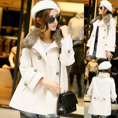 ++สินค้าพร้อมส่งค่ะ++ เสื้อ coat เกาหลี คอปกแต่งขนเฟอร์ แขนยาว ดีไซด์สายรัดเก๋ช่วงคอ – สีขาว