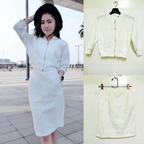 ++สินค้าพร้อมส่งค่ะ++ชุดเซ็ท เสื้อ jacket แขนยาว ผ้าลูกไม้ สไตล์ Vintage และกระโปรงเข้าชุด เนื้อดีค่ะ สีขาว