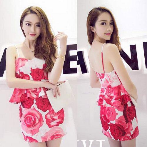 ++สินค้าพร้อมส่งค่ะ++ ชุดเซ็ทเกาหลี เสื้อสายเดี่ยว ผ้า cotton เนื้อหนาพิมพ์ลายดอกไม้+กระโปรงเข้ารูปช่วงสะโพก – สี Red Rose