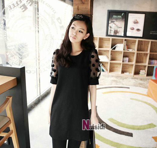PreOrderไซส์ใหญ่ - เสื้อแฟชั่นเกาหลี ไซส์ใหญ่ คนอ้วน ผ้าชีฟอง แต่งแขน สีดำ