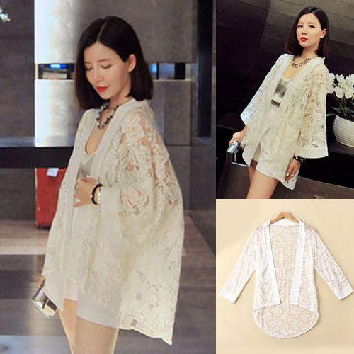 ++สินค้าพร้อมส่งค่ะ++ เสื้อแฟชั่นเกาหลี Cardigan ดีไซด์ลูกไม้ แขนยาว ปลายโค้ง ผ้าลูกไม้ มี 2 สีค่ะ – สีขาว