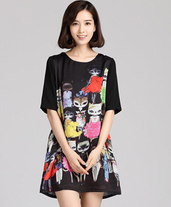 PreOrderไซส์ใหญ่ - เดรสแฟชั่นเกาหลี ไซส์ใหญ่ คนอ้วน ผ้าพิมพ์ลายรูปสัตว์ แขนสั้น สีดำ
