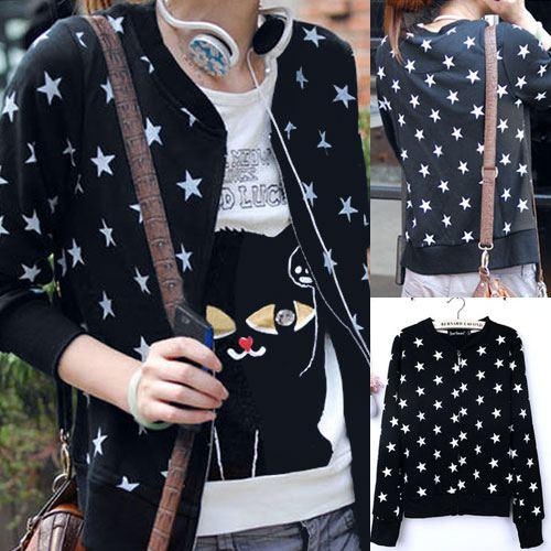 ++สินค้าพร้อมส่งค่ะ++ เสื้อ jacket เกาหลี แขนยาว ซิบหน้า ผ้าพิมพ์ลายดาว แต่งกระเป๋า 2 ข้าง น่ารัก มี 3 สีค่ะ – สีดำ