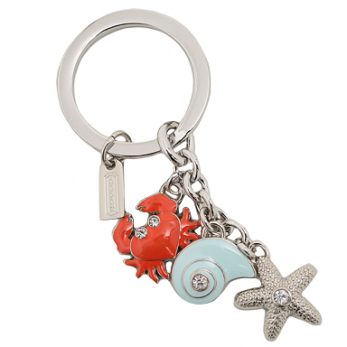 พวงกุญแจ COACH F62246 SV/MC Beach Pave Multi Mix Key Ring Chain