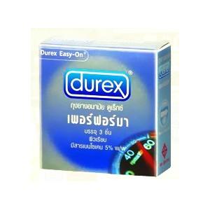 ถุงยางอนามัย durex เพอร์ฟอร์มา ผิวเรียบผสมยาชา 52.5mm