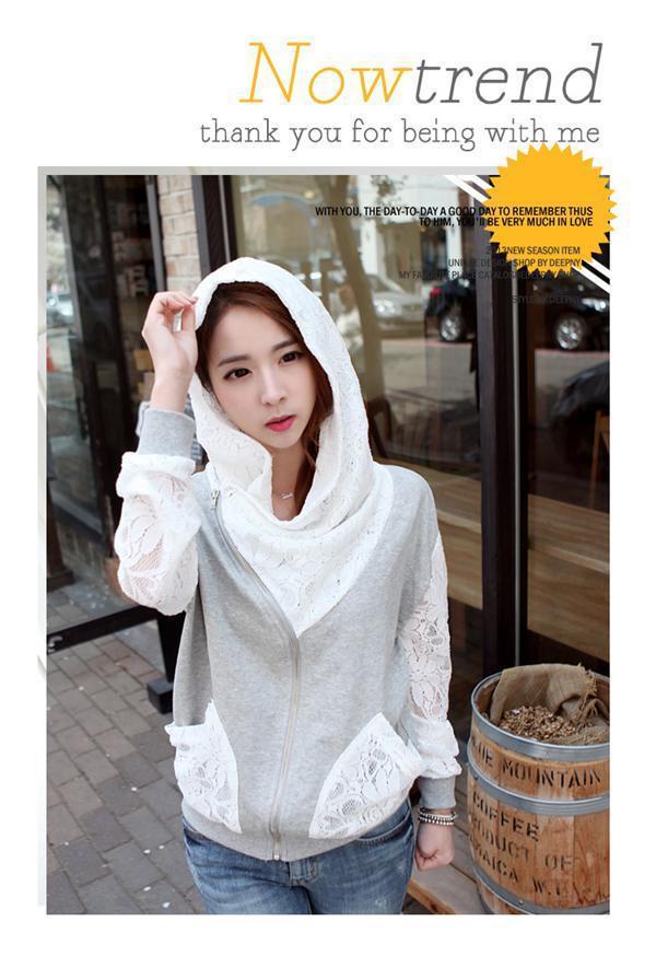++สินค้าพร้อมส่งค่ะ++ เสื้อ Jacket เกาหลี แขนยาว ผ้า cotton sweater+lace เนื้อดี มี Hood กระเป๋าลูกไม้สองข้างน่ารัก – สีเทา