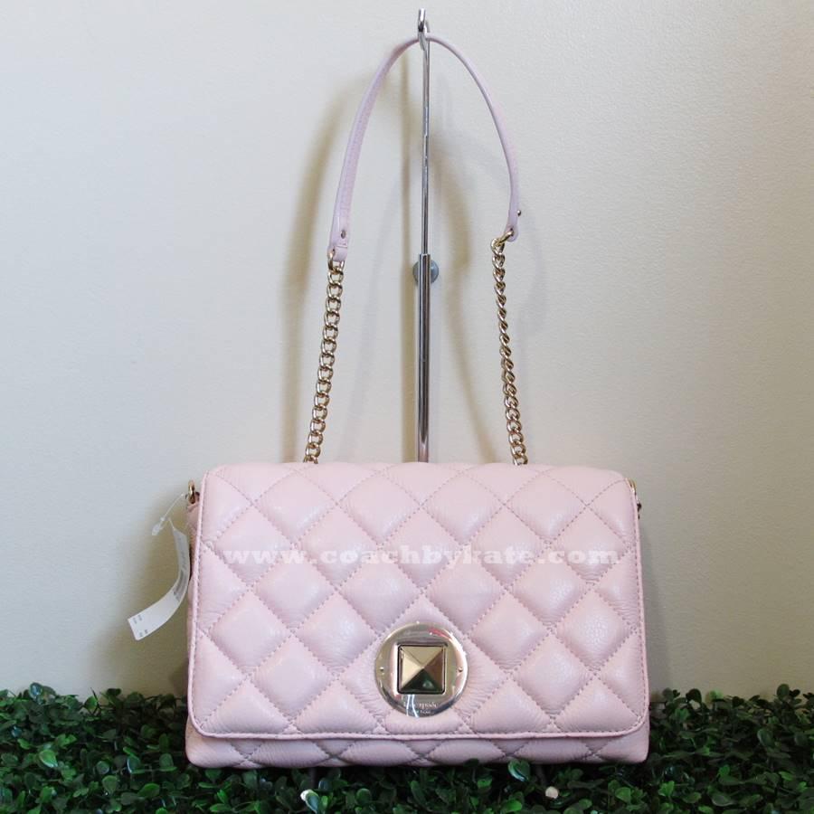 สินค้าอยู่ไทย : กระเป๋า Kate Spade WKRU2334 สะพายข้าง หนังแท้ทรงเดียวกับ Chanel Flap สีชมพูอ่อน
