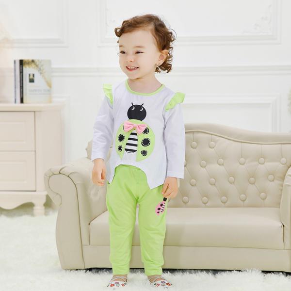 พร้อมส่ง เสื้อผ้าเด็กทารก เด็กผู้หญิง 1-2 ปี ราคาส่งจากโรงงาน เสื้อแขนยาว กางเกงขายาว รหัส YH979 สีเขียวอ่อน ลายเต่าทอง 1 ชุด ไซร์ 80 (ส่วนสูง 73-80cm )