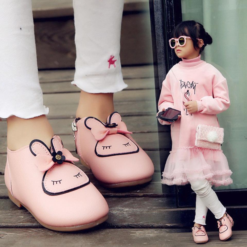 รองเท้าหนังหุ้มส้นหนังพียู หน้ากระต่าย สีชมพู