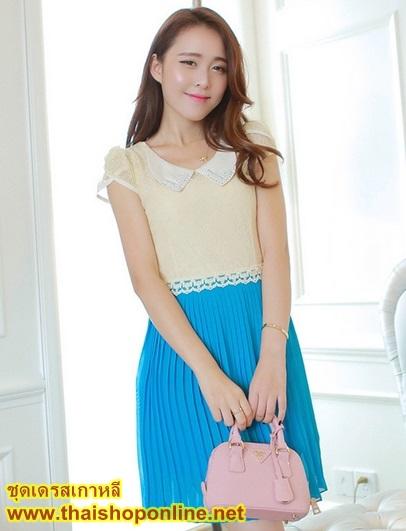 ชุดเดรสออกงาน น่ารัก แฟชั่นเกาหลี สีฟ้า เสื้อผ้าลูกไม้อย่างดี คอปกประดับมุก แขนกุด กระโปรงพลีทบาน ซิปข้าง มีซับใน ใส่ออกงานสวยมากๆครับ (พร้อมส่ง)