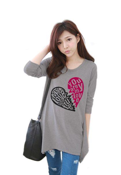 เสื้อยืดเกาหลีแขนยาว ปลายหยัก ผ้า Cotton Combed ลาย Broken Heart สีเทา