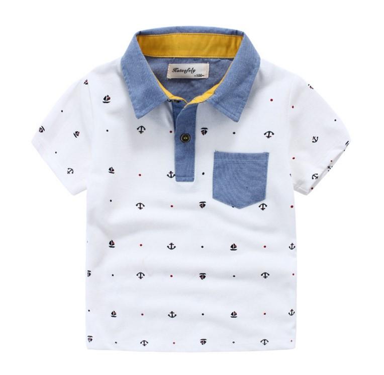 เสื้อคอปก ลายสมอ ตกแต่งกระเป๋าที่อกด้านซ้าย ไซส์ 100, 110, 120, 130