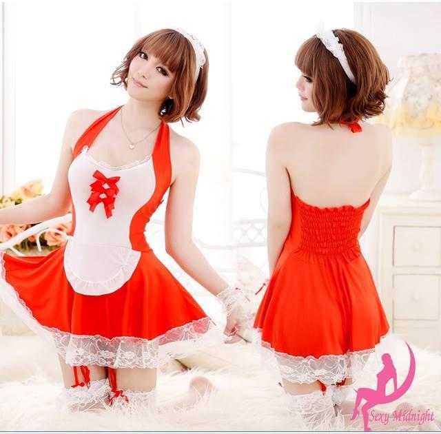ชุดเมด ชุดแม่บ้าน สีแดง ผ้าสเปนเดกซ์นิ่ม น่ารักเซ็กซี่ มีครบตามรูปยกเว้นถุงน่อง ขนาดฟรีไซส์