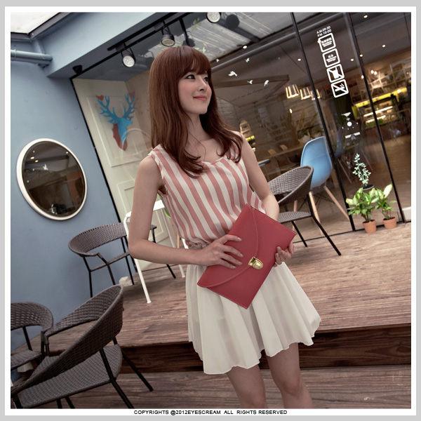 dress ชุดเดรสแฟชั่น เดรสแขนกุด ชุดเดรสใส่เที่ยว ชุดเดรสใส่ทำงาน ผ้าชีฟอง สีชมพู - ขาว พร้อมเข็มขัด น่ารัก thaishoponline
