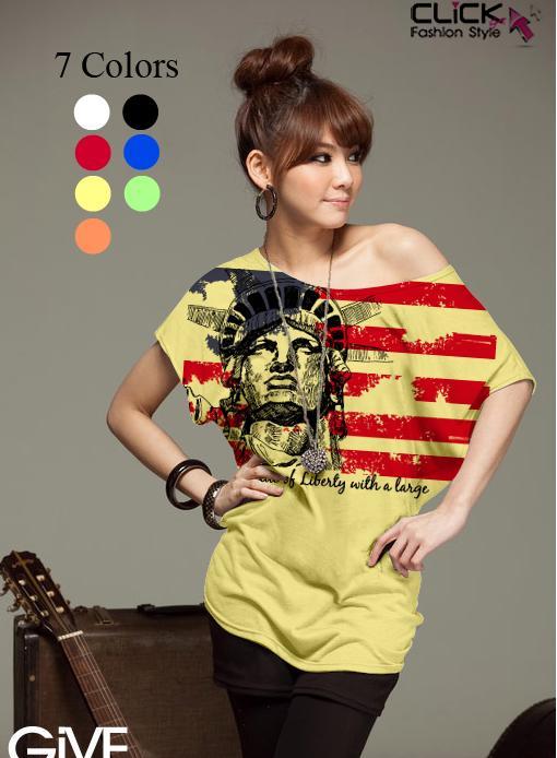 เสื้อยืดแฟชั่น ชายเสื้อดึงยาง ลาย Liberty Flag สีเหลือง (คอปกติ ไม่กว้าง ไม่เปิดไหล่)